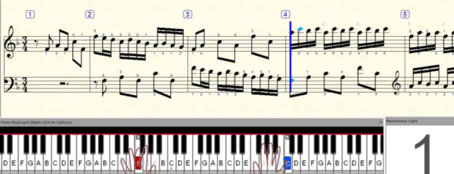 moving notation with finger number, metronome and dancing hands