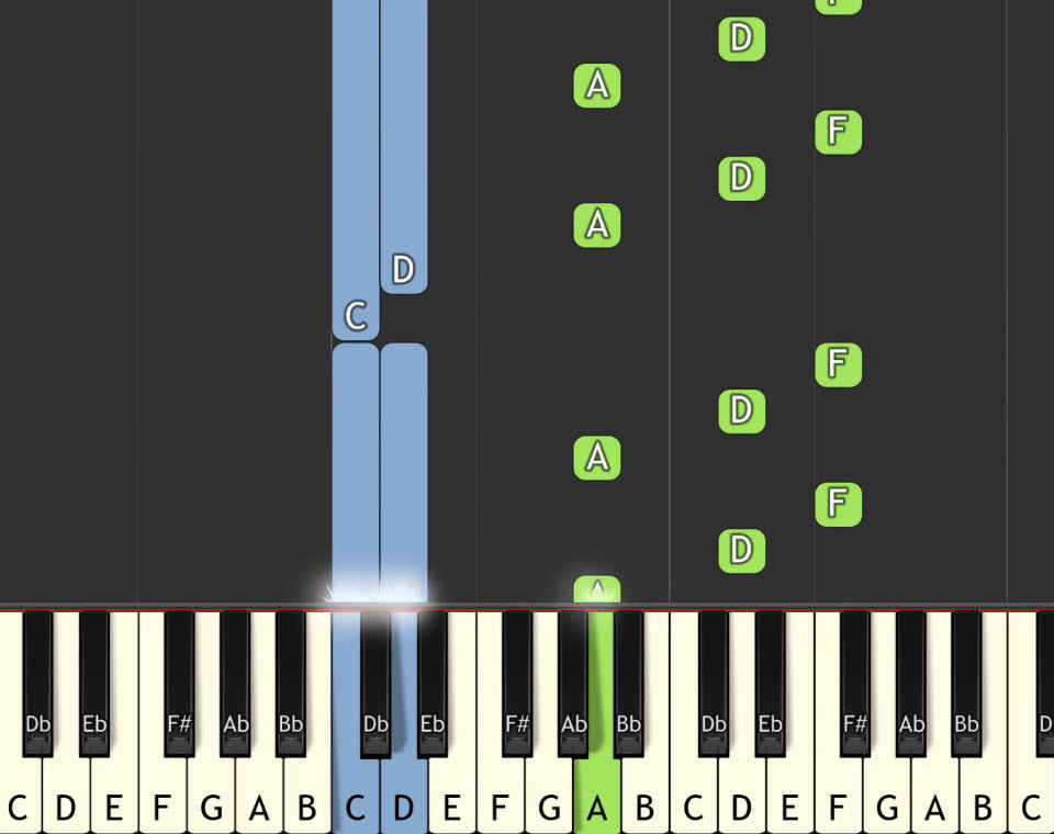keyboard and piano sound with notes moving like Guitar Hero