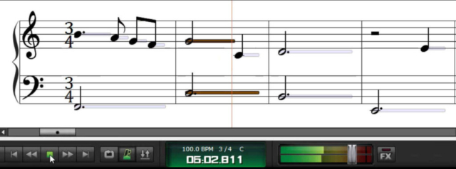 duration of note in rhythm while song plays with notation